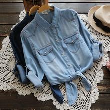 2125新款大码夏季女装日系七分袖下摆打结两用袖牛仔衬衫衬衣上衣