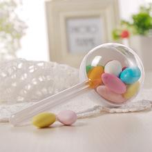 创意DIY手工个性圆形塑料包装盒 透明食品级材质棒棒糖糖果包装盒