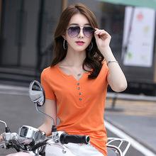 2020时尚韩版修身V领短袖女T恤扣子潮春夏小衫显瘦上衣新款1807