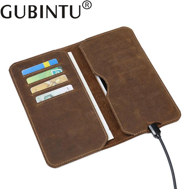 GUBINTU头层牛皮男士钱包男长款真皮手包复古超薄青年皮夹手机包