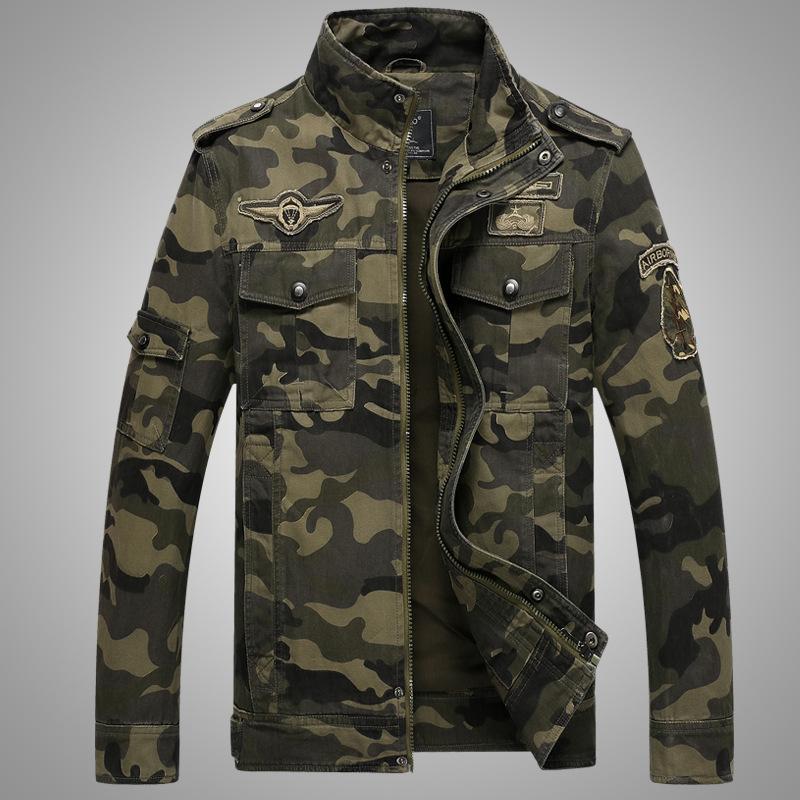 厂家亚马逊速卖通秋季欧美休闲大码迷彩印花工装夹克男装军装外套