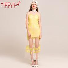 YIGELILA2018新款欧根纱蕾丝镂空性感深V露背连衣裙长裙6965黄色