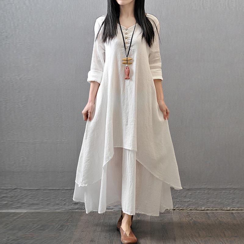 2020春秋新款假两件长裙文艺大摆亚麻连衣裙宽松长袖棉麻裙