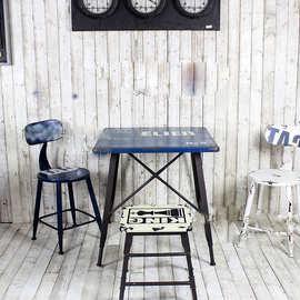 工业风酒吧复古方桌 法式乡村做旧家具咖啡桌 铁皮餐桌椅组合