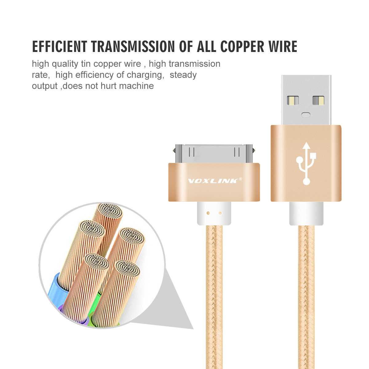 USB Charger Cable Braided Nylon Premium USB Data Sync Charging Cable for iphone 4s iPad 2 3 4 iPod silver 100cm 2