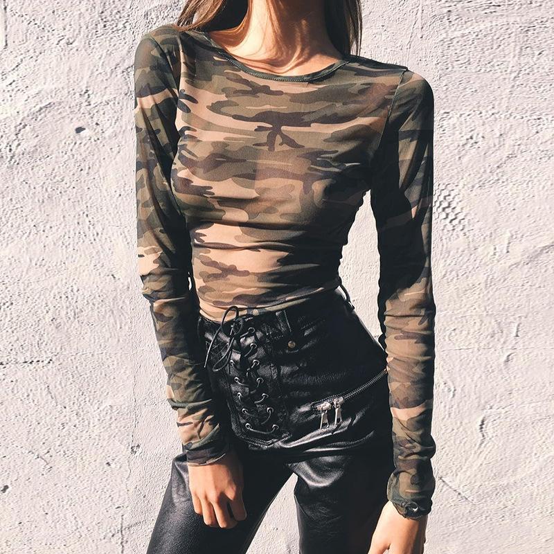 欧美热销网纱上衣女2021外贸女装新款亚马逊迷彩长袖t恤地摊批发