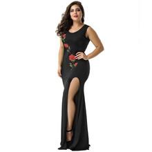 歐美時尚女裝黑色晚禮服刺繡玫瑰花圖案側開叉長裙拖地長尾裙外貿