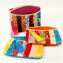 民族风丝绸刺绣撞色七彩包小钱包 女士款小包出国特色小礼物