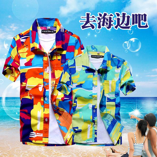 夏季男士印花大码短袖衬衫海滩速干宽松衬衣夏威夷沙滩度假旅游服