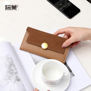 Summer new style wallet ladies long money clip Korean retro frosted round buckle clutch bag big money clip wholesale