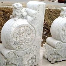 Stone carved door pier drum courtyard villa home town house bluestone drum white jade lion gate pier stone pillow stone pier