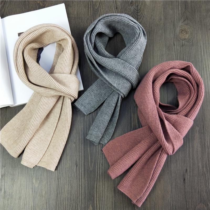 韩版新款小巧学生围巾男女士秋冬长款双面密针织兔绒纯色围脖保暖
