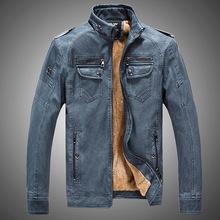外贸速卖通亚马逊秋冬季男士加绒男士皮衣外套英伦欧美水洗PU夹克