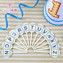 節日派對用品 創意生日蛋糕小插旗 26個字母賀卡韓 時尚卡片N~Z