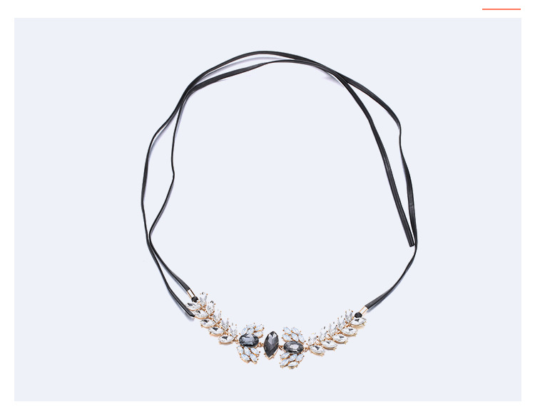 Fashion OL alloy Inlaid stones necklace (Golden black)NHNTF1345-Golden black