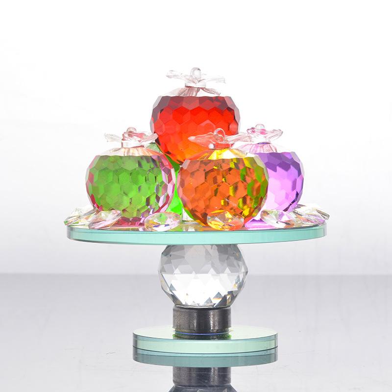 人造水晶摆件礼品 家居装饰摆件 旋转工艺品礼品苹果水果盘摆件