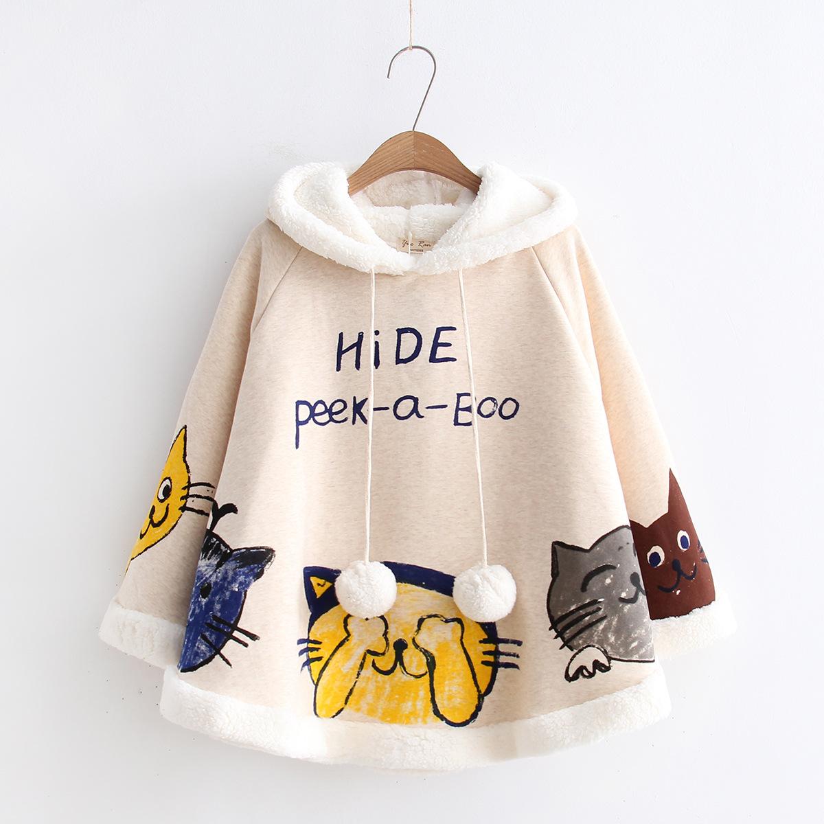 Nhật vui vẻ phong cách gió nhút nhát mèo đội mũ trùm đầu áo choàng nhung cừu lỏng kích thước lớn dày lông phụ nữ bán buôn 11008
