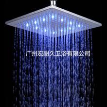 热销10寸全铜LED顶喷新款方形感温三色发光淋浴喷头大花洒温控