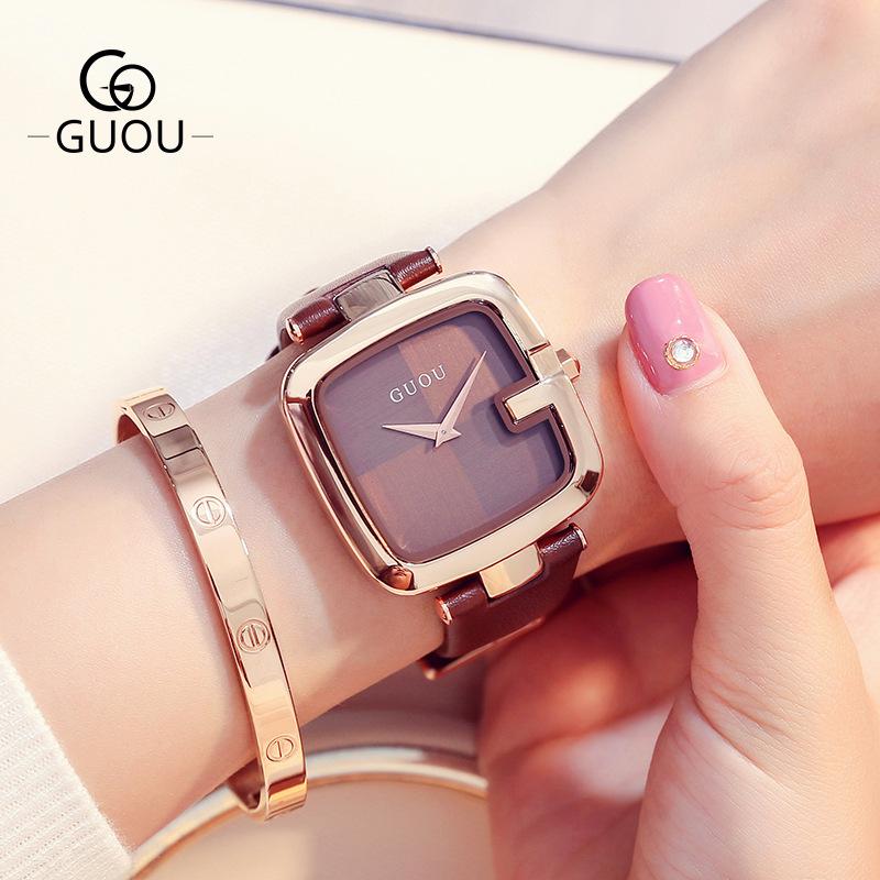 古欧GUOU新款创意中性方形手表潮流女士手表真皮石英表8190Watch