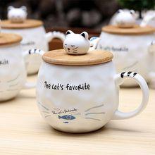 木盖猫咪陶瓷杯 猫鱼带勺圆形杯子卡通水杯 学生礼品 马克杯定制