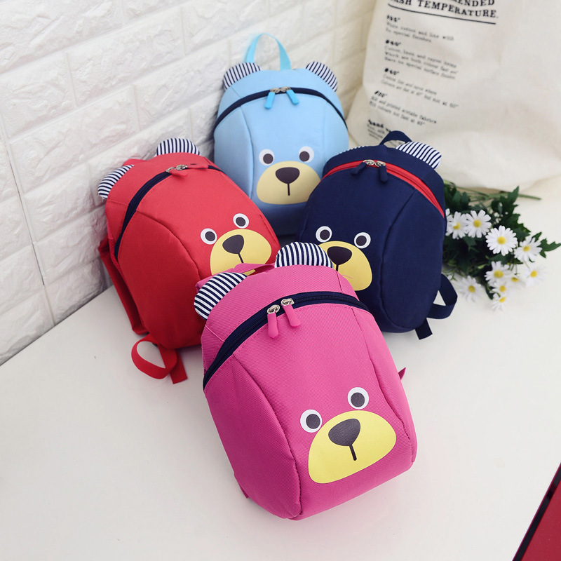 批发小熊1-3岁防走失书包小猪卡通男女儿童幼儿园中小班双肩背包