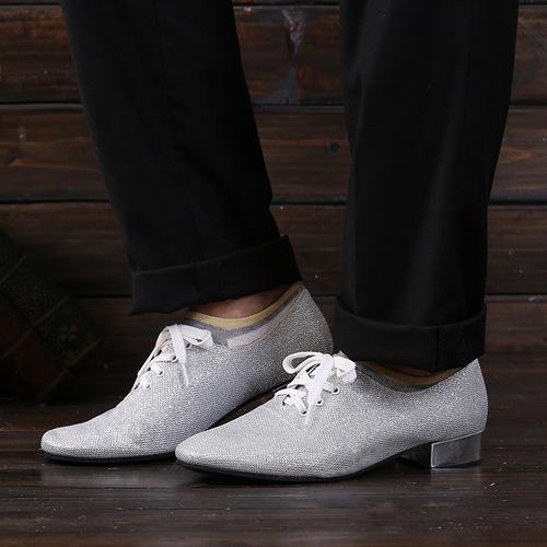 men silver sequined Latin dance shoes adult men modern shoes glite Pu antiskid modern dance shoes square dance stage shoes