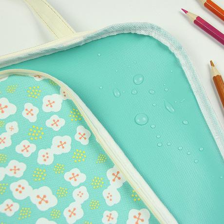 P85 sinh viên dễ thương hoa nhỏ A4 tập tin túi vải tập tin túi dây kéo túi thông tin văn phòng túi lưu trữ túi