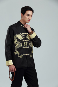 Tang suit coat for male Embroidered gold double dragon double sleeve Tang suit men long sleeve coat men standing collar men top