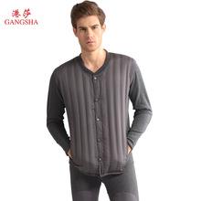 港莎灰鸭绒冬季保暖内衣中老年男女士加绒加厚精梳棉高档内衣套装