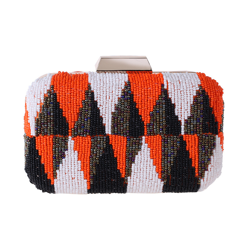 Casual womens bag hand holding evening party bag small square bag highend contrast color beaded embroidered bag NHYG176854
