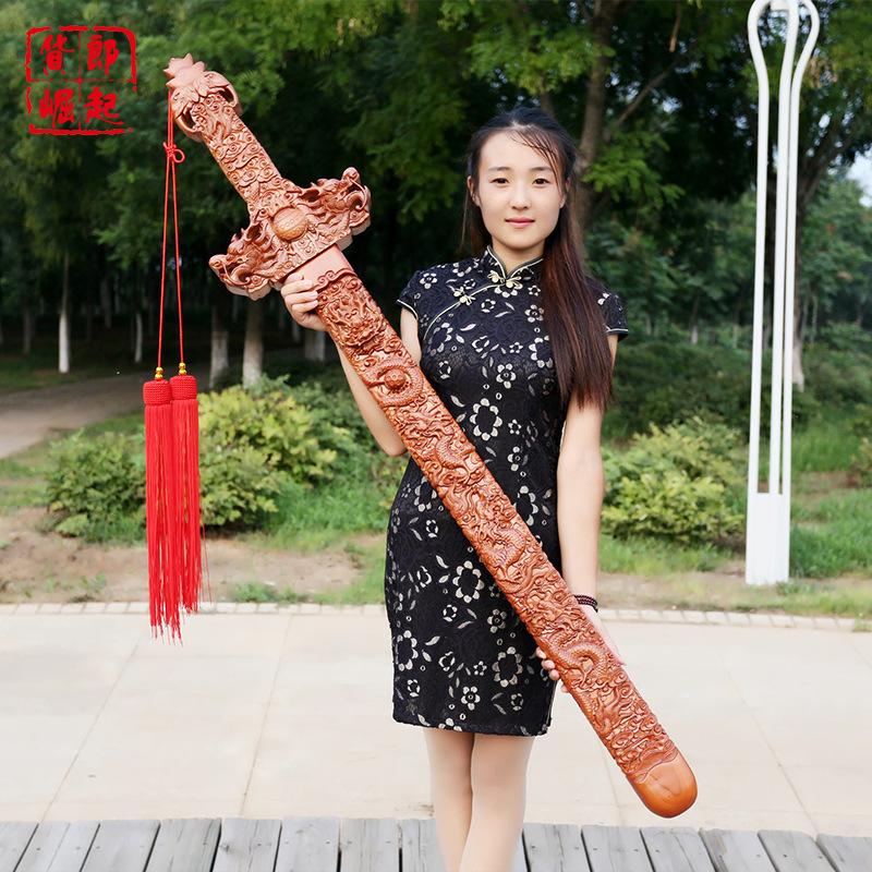肥城桃木剑立式儿童宝宝挂件雕刻工艺品客厅装饰道士剑