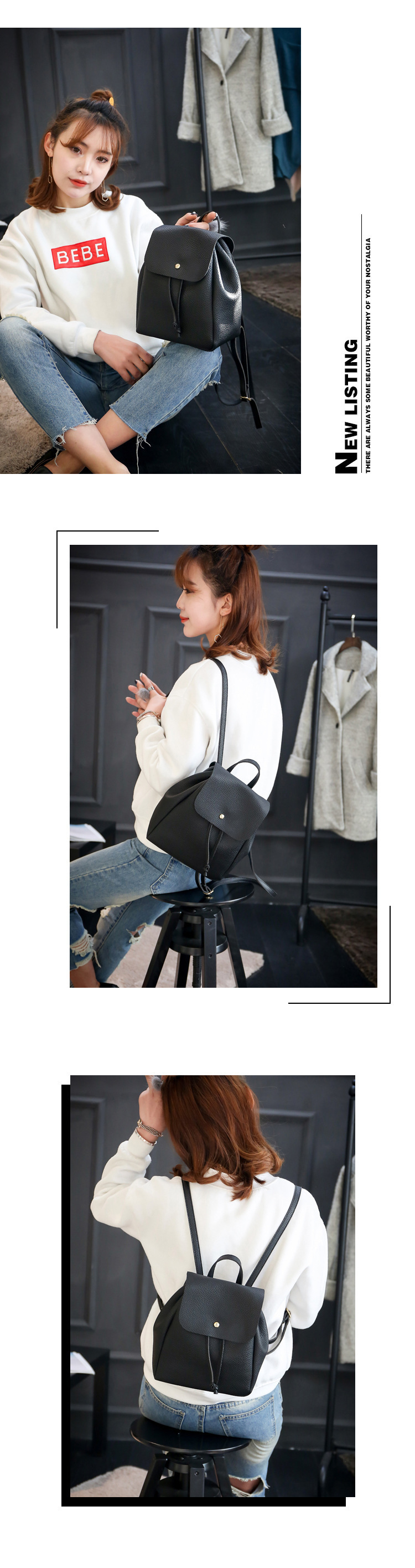 Cute PU  backpack  (black)  NHXC0158-black