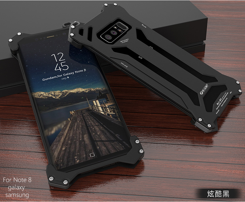 R-Just Gundam Aerospace Aluminum Contrast Color Shockproof Metal Shell Outdoor Protection Case for Samsung Galaxy Note 8