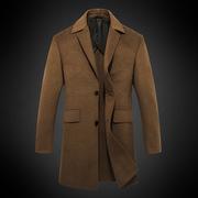 男装秋冬新款西装领毛呢外套男中长款修身呢子大衣男士欧美风衣