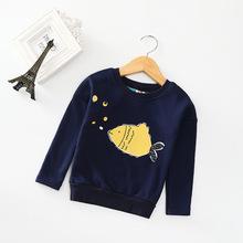春秋新款厂家直销韩国原单卡通长袖童t恤儿童舒适加绒打?#21672;?#31461;卫