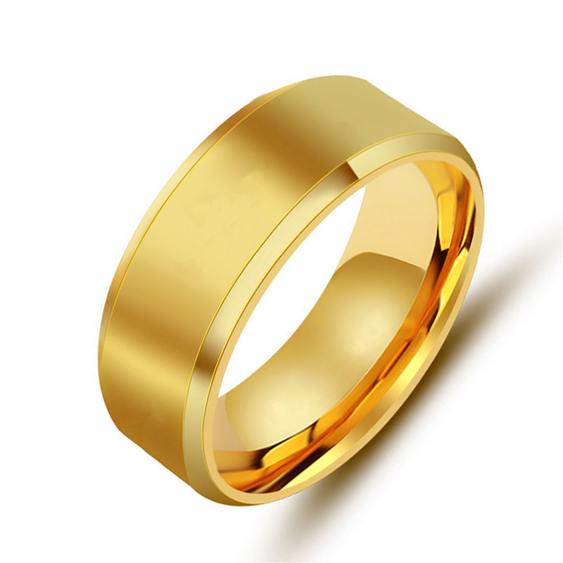 Occident and the United States Titanium steel plating Titanium steel ring (Gold 8mm male models -8)NHIM0907-Gold 8mm male models -8