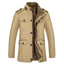 厂家直销外贸秋季新款男式中年夹克男中长款男士商务风衣男外套男