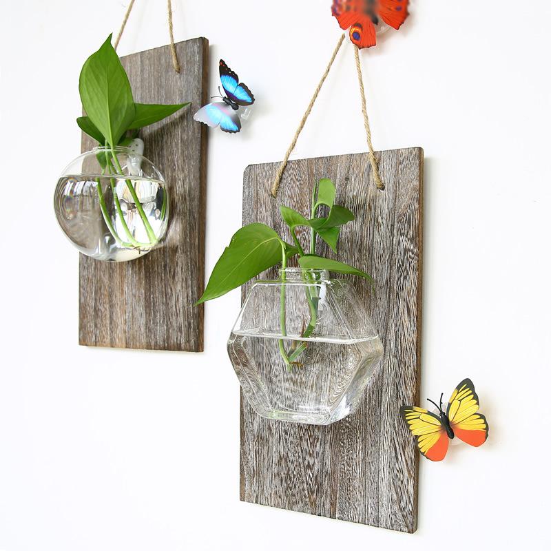 透明壁挂水培玻璃花瓶墙壁装饰绿萝植物插花瓶小鱼缸创意家居
