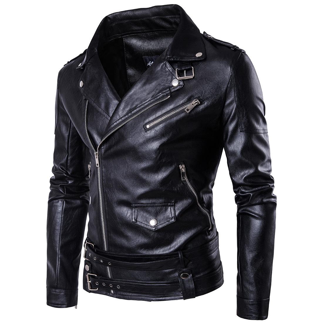 Amazon wise new men's locomotive leather jacket men's large multi zip leather coat European Pu casual coat