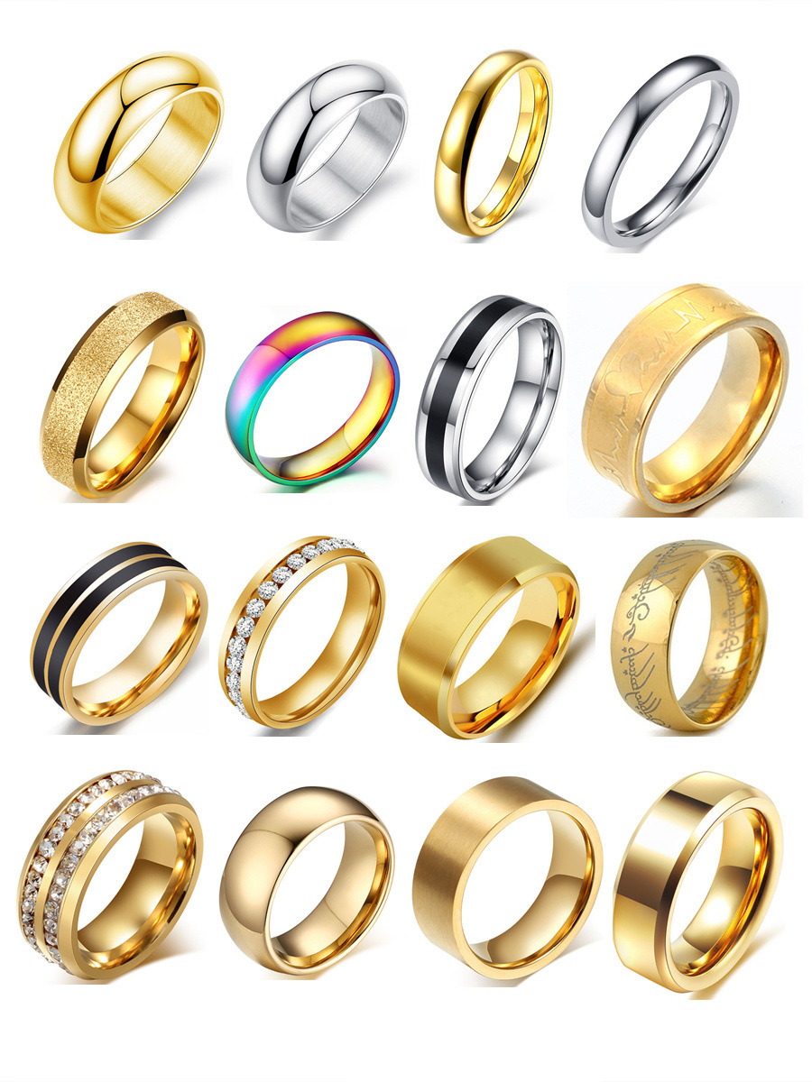 Retro alloy plating Titanium steel ring (Mixed -12 number)NHIM0820-Mixed -12 number