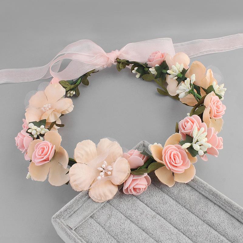 欧美时尚布艺花环头饰 蕾丝花卉发箍发带 三色可选沙滩头箍发带