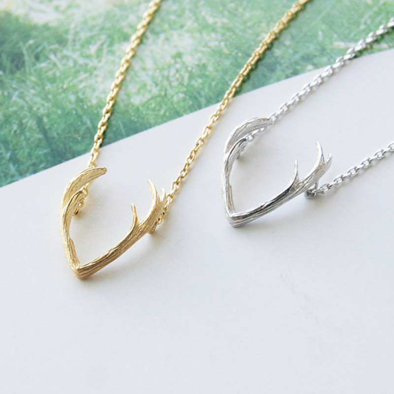 Antler necklace short clavicle chain female reindeer elk pendant necklace wholesale NHCU186590