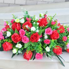 会议桌花仿真玫瑰花满天星台花绢花讲台花摆设办公室装饰酒店家居
