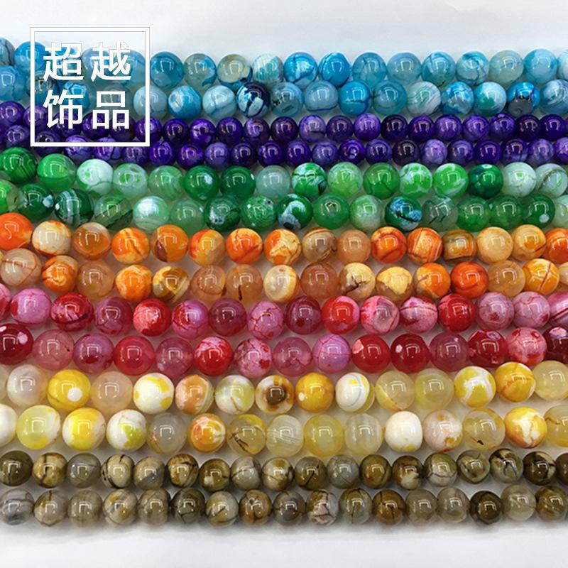 冰爆花玛瑙七彩色散圆珠子批发 天然彩色玛瑙 手工串珠配件diy