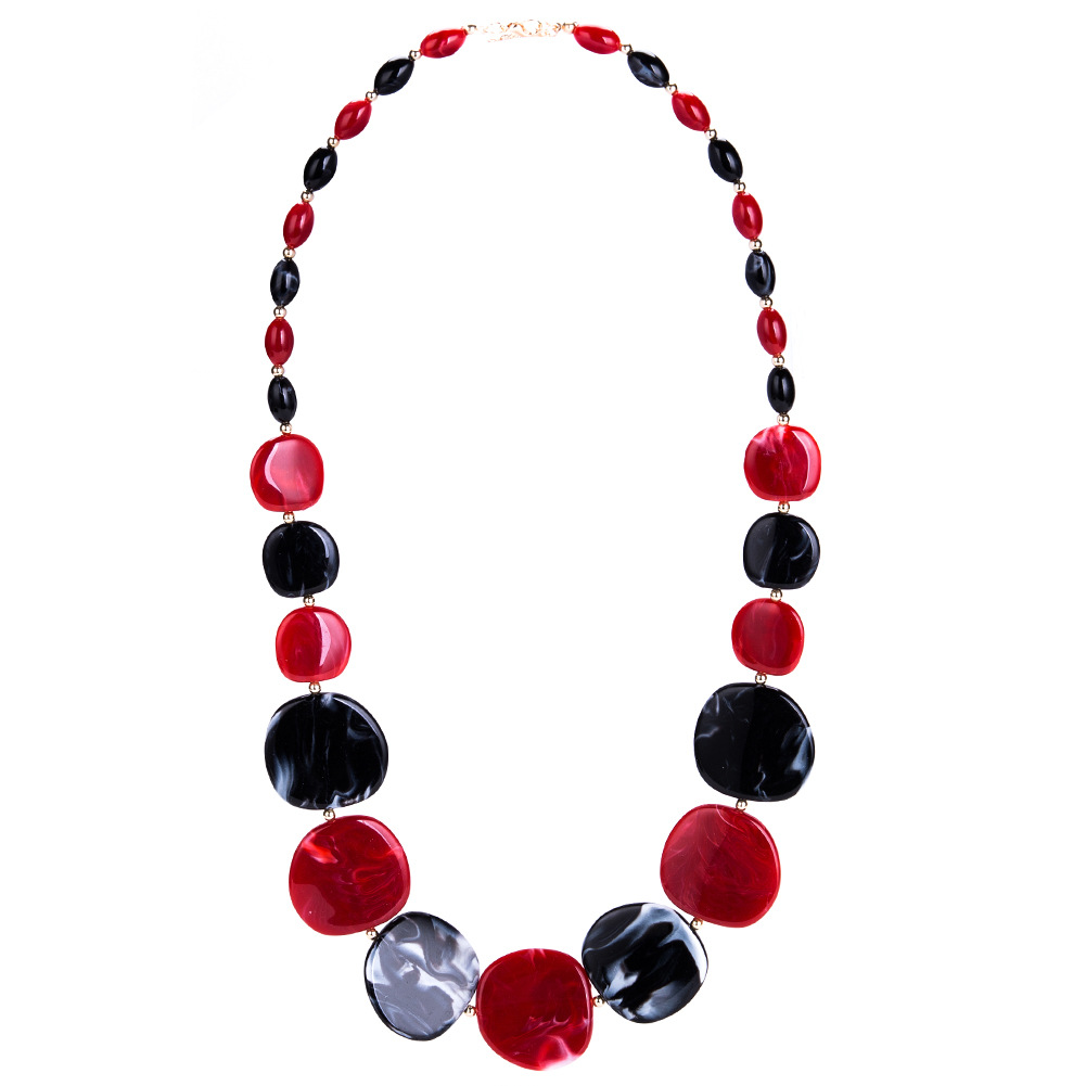 Fashion Other  necklace Geometric (Red and black)  NHJE0932-Red and black