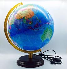 工厂直销直径32cm铝合金支架木底座带灯光中英文双语版高清地球仪