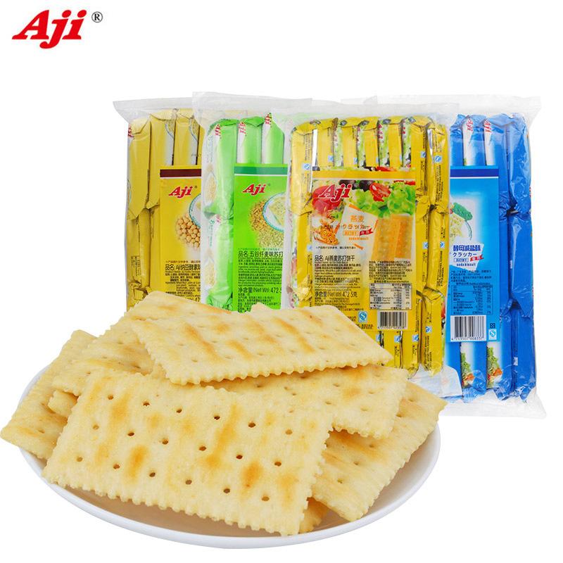 Aji酵母减盐味苏打饼干472.5g五谷纤麦味纳豆酵素味苏打饼干批发
