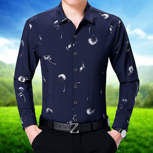 The middle-aged man pyrographic long sleeved shirt 2017 spring and autumn men's fashion leisure suit new couples dress s