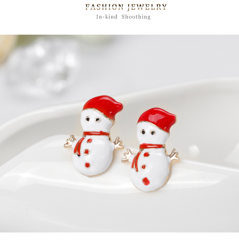 Fashion Christmas Snowman Alloy Drop Oil Earrings NHDR152862