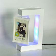 E形三面磁懸浮相框 商務創意禮品 自轉懸浮擺件工藝品  發光相框